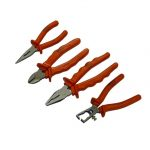 URLT/0100089 Insulated plier set of 4 - long nose plier 150mm, side cutter 180mm, combination plier 180mm and wire strippers 150mm