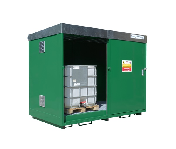 Dual purpose bunded storage unit, for either 8 x 205 litre drums or 2 x 1000 litre IBCs